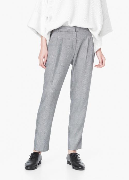 pantalon gris à pinces mango
