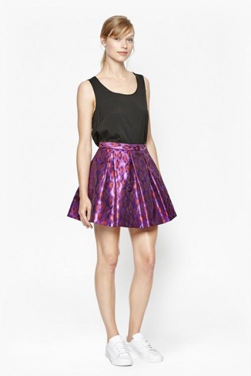 French Connection - jupe motif violette metallisée