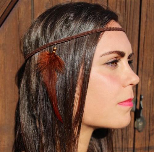 Saranaya - headband à l'indienne plume cuir