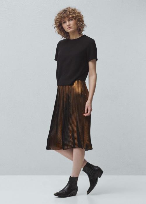 Mango - jupe plissée bronze