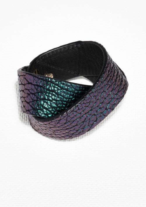 & Other Stories - bracelet cuir metallisé
