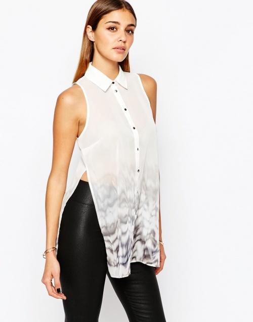 River Island - chemise sans manche fendue