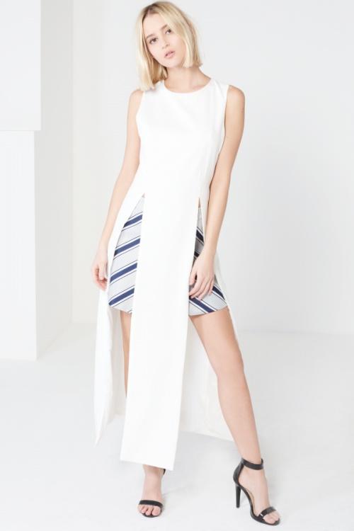 Lavish Alice - top  long blanc fentes