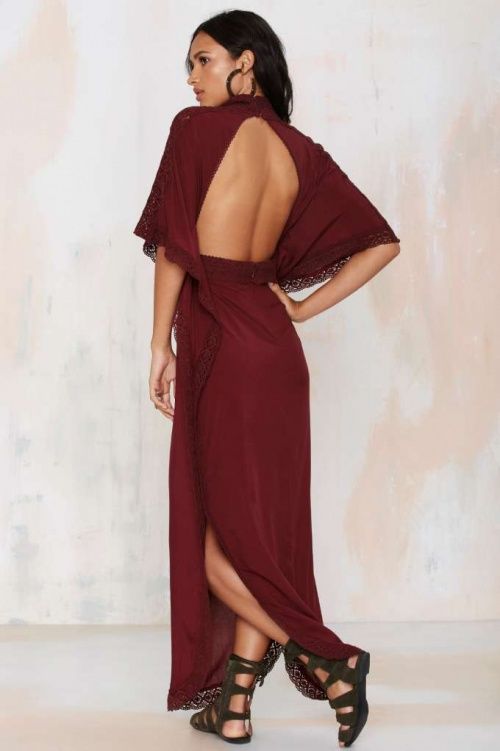Nasty Gal - Robe longue rouge dos nu