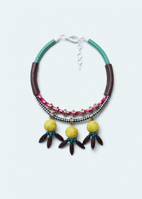Mango - plastron cable et perles