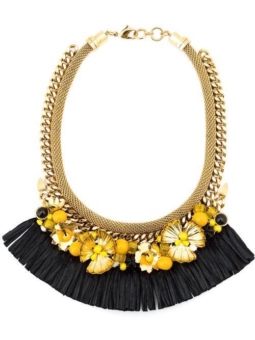 Lizzie Fortunato jewel platrons fleur et franges