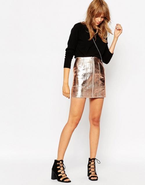 Asos jupe cuir effet metallisé rose