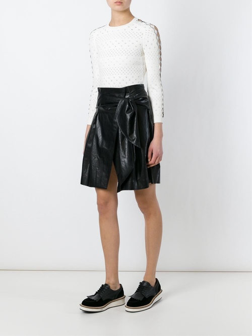MSGM  jupe portefeuille cuir