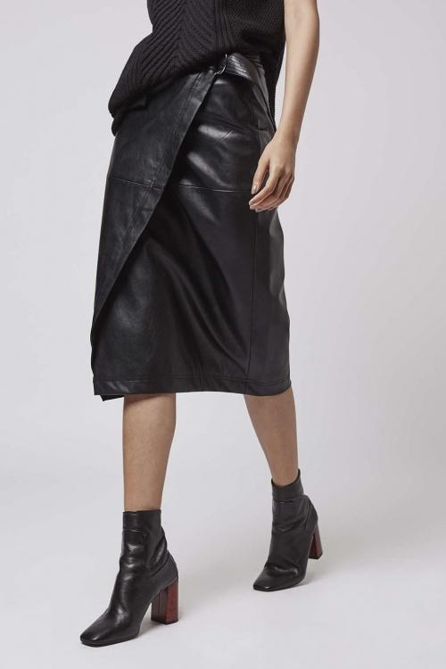 Topshop  jupe portefeuille simili cuir