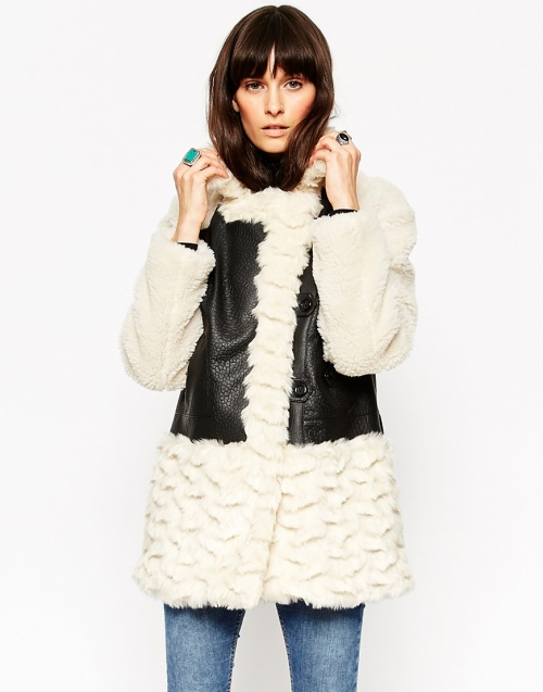 Asos - manteau shearling et cuir