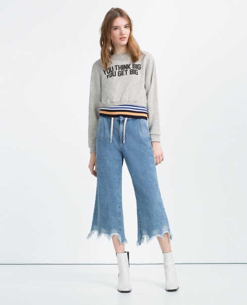 Zara sweat cropped top message