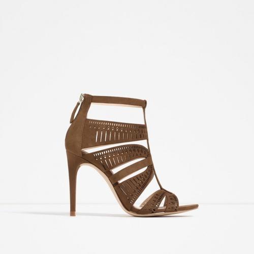 Zara - sandales ajourées camel