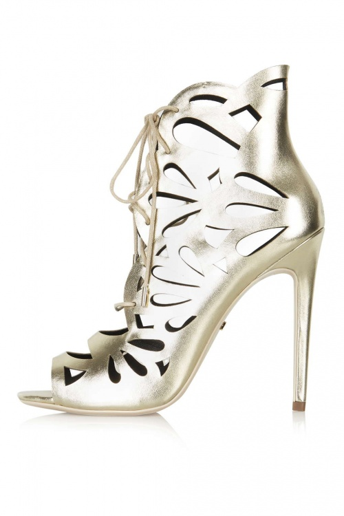 Topshop - sandales ajourées métallisées