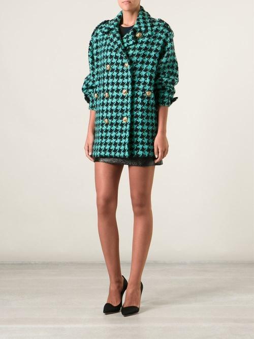 Moschino Vintage - Manteau  pied de poule turquoise