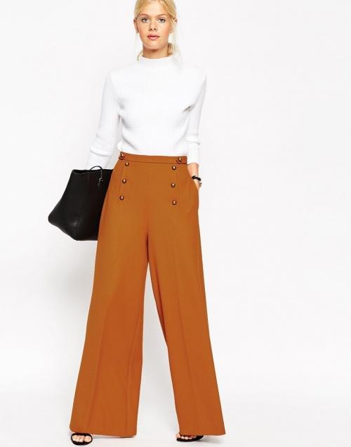 Asos - Pantalon fermeture à pont orange