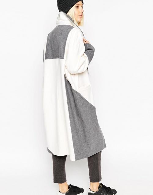 Asos manteau long oversize gris et blanc