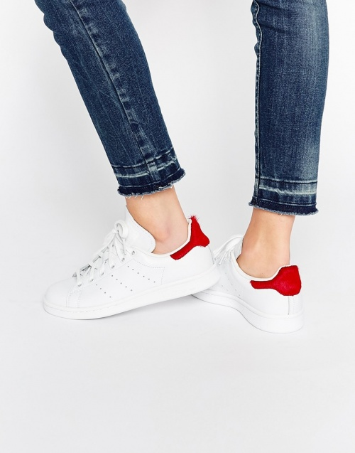 Adidas stan smith blanches et rouge
