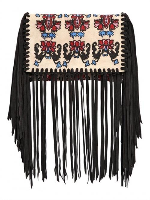 Isabel Marant  pochette ethnique brodée franges
