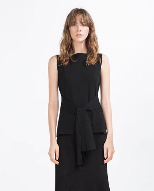 Zara - Top noir sans manche noeud