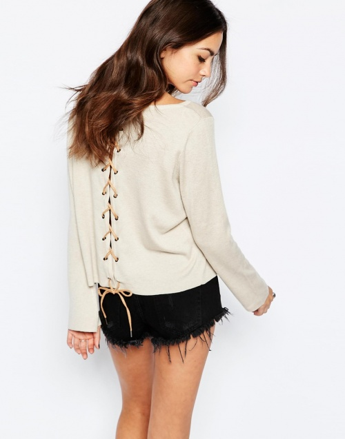 Only - Pull beige lacets dos