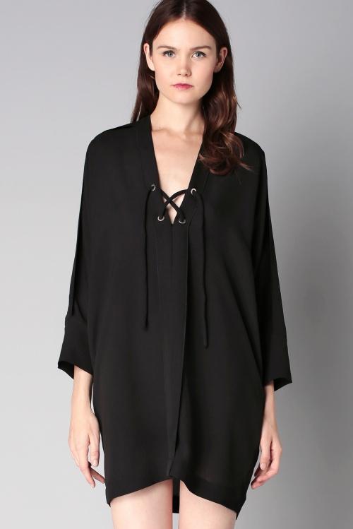 IRO - Robe noire à lacets
