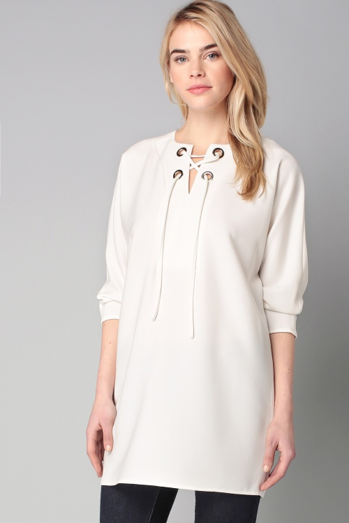 Tara Jarmon - Robe blanche à lacets