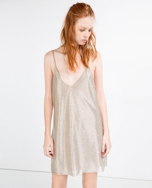 Zara robe nuisette beige