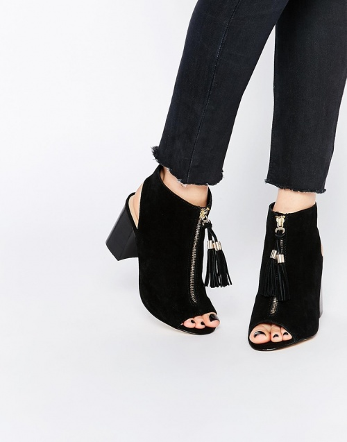 River Island bottines noires open tooe avec estampilles