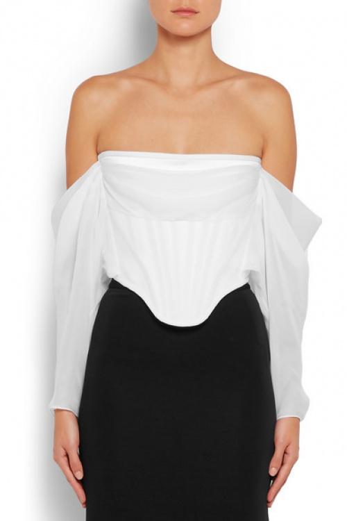 Givenchy top blanc structuré col bardot
