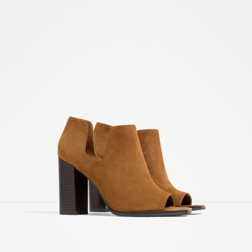 Zara bottines camel open tooe