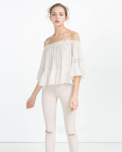 Zara  top dentelle ajourée blanc