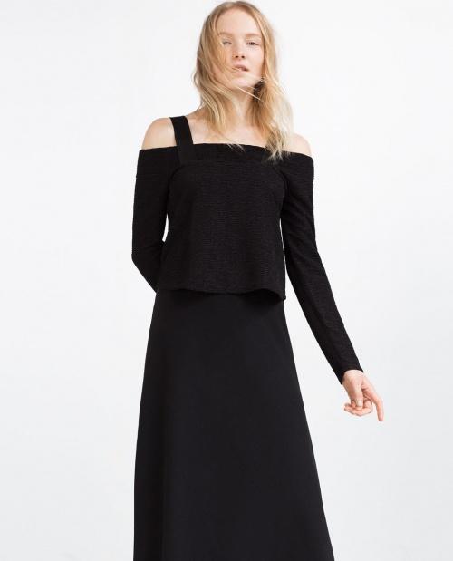 Zara top col bardot noir