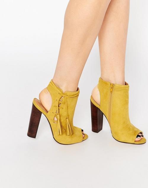 Asos bottines ouvertes jaunes à ampilles