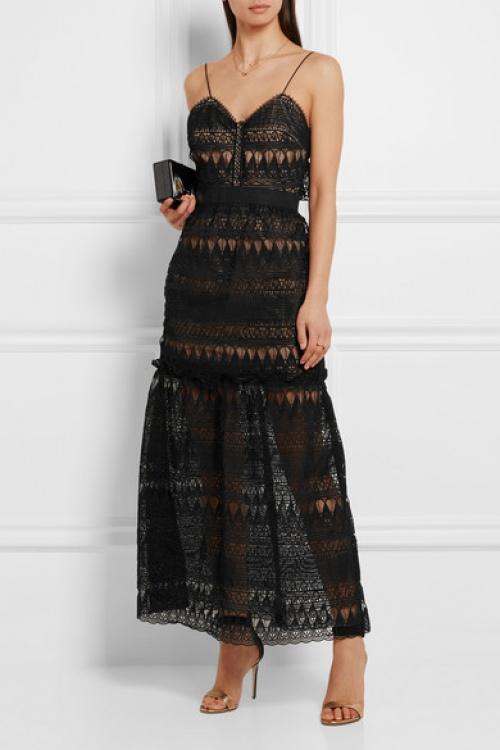 Self Portrait  robe noire longue dentelle