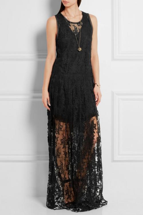 Chloé  robe extra longue dentelle noire