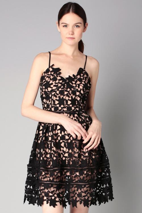 By MonShowroom robe dentelle noire ajourée