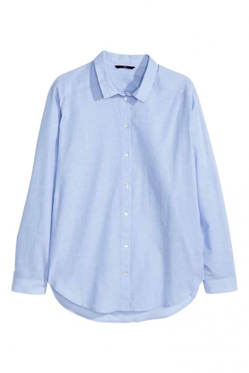 chemise bleue h et m