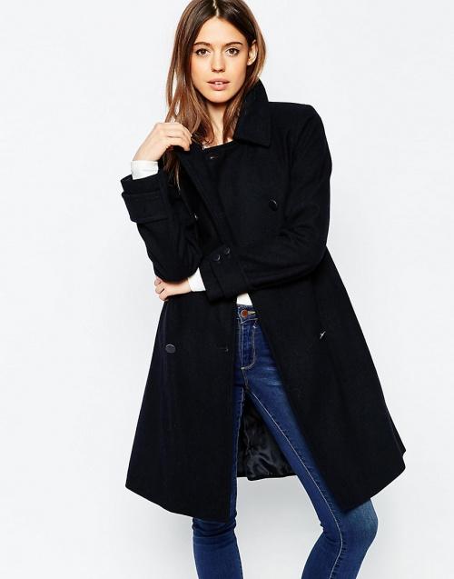 manteau asos bleu marine