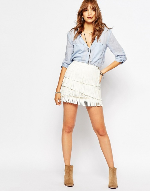 Pepe jeans jupe franges blanche
