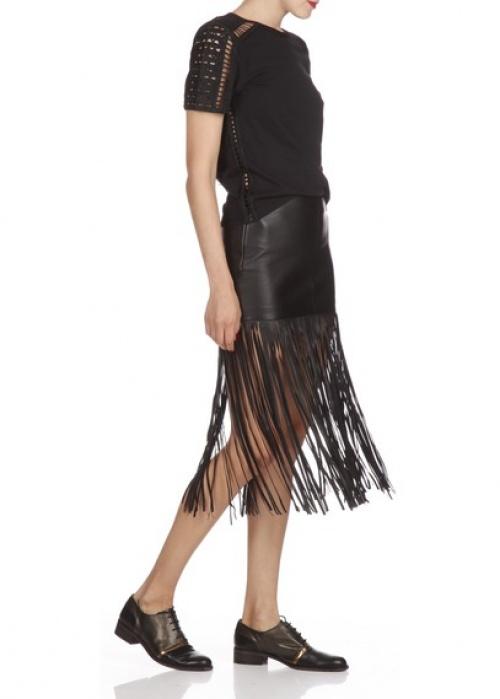Maje jupe longue frangée