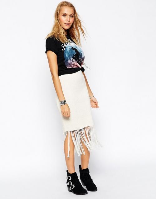 Asos jupe blanche à franges