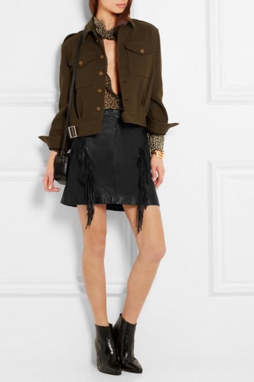 Saint Laurent jupe franges cuir