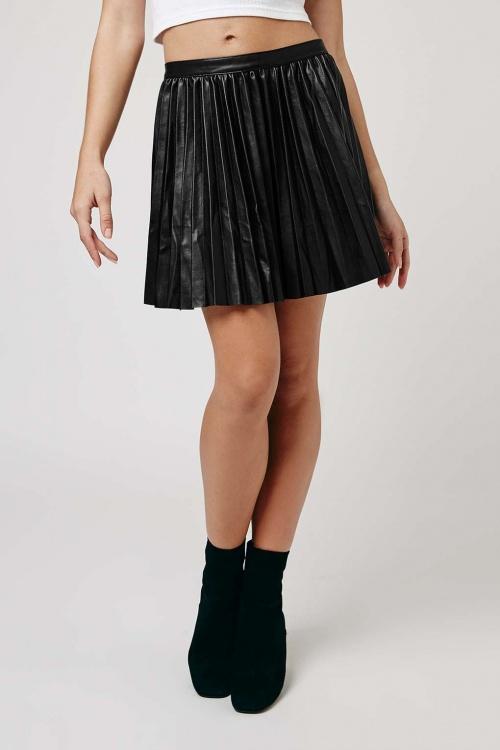 Topshop  jupe simili cuir plissée
