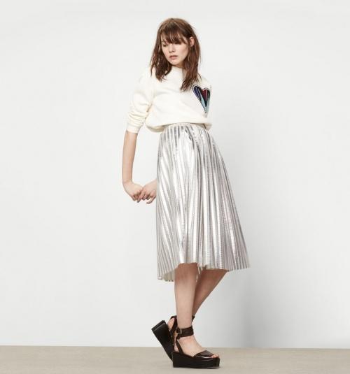 Maje jupe plissée metallisée