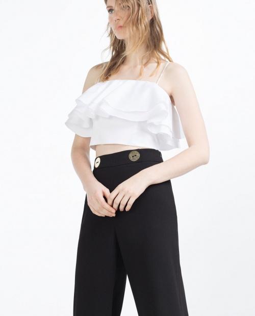 Zara - Top bustier blanc à volants