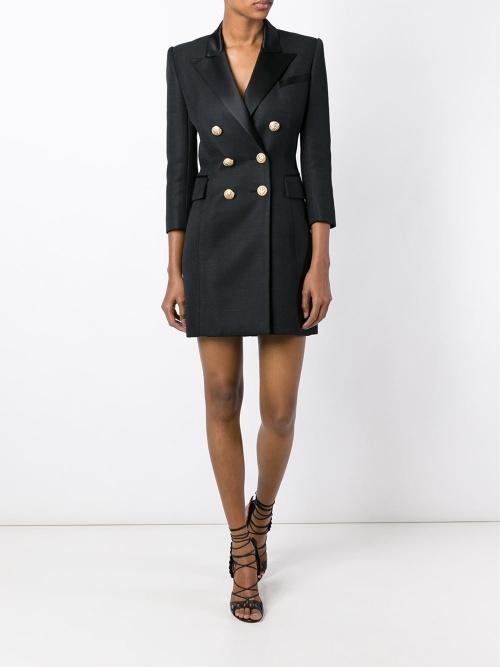 Balmain - Robe noire façon veste