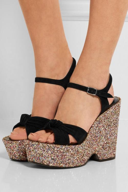 Saint Laurent sandales compensées en dail et paillettes