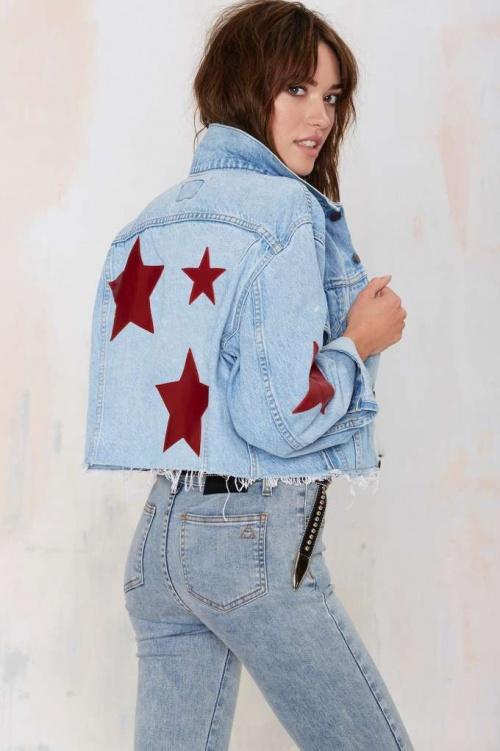 Nasty Gal  veste jean dos étoiles