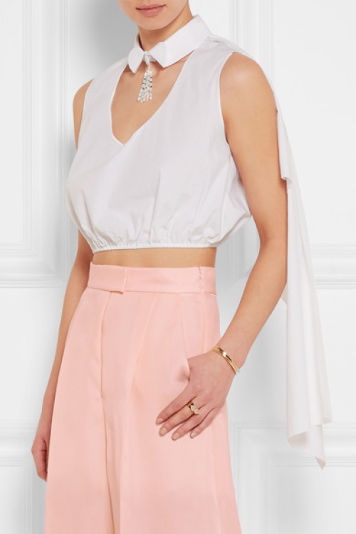 Delpozo  cropped top chemise à cape