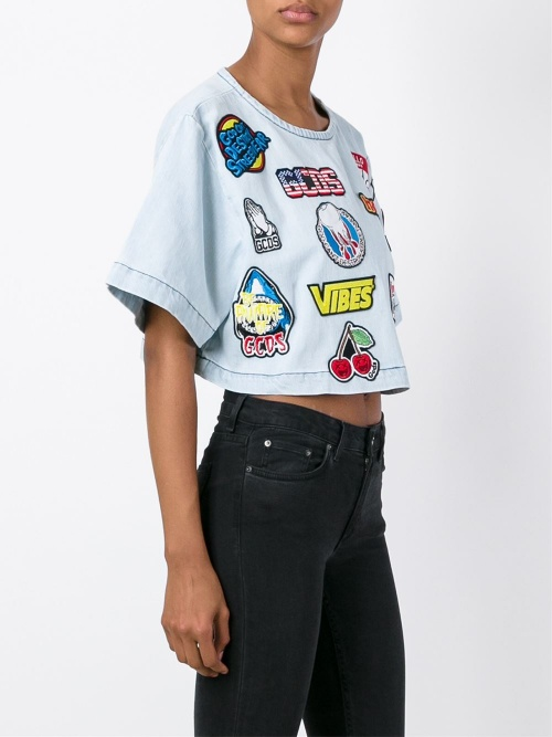 GCDS cropped top patchs